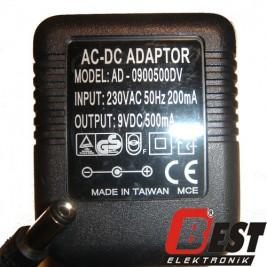 AD-0900500DV  / 9 Volt 500mA Adaptör