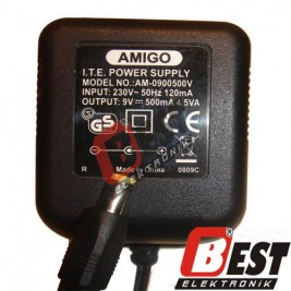 AM-0900500V  / 9 Volt 500mA Adaptör
